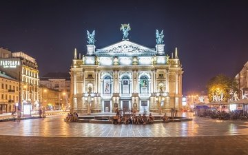 lights, the evening, street, fountain, lions, ukraine, the opera and ballet theatre