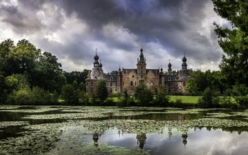clouds, trees, nature, castle, pond, palace, belgium, ooidonk