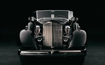 retro, black and white, auto, car, packard
