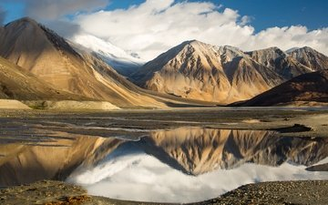 the sky, clouds, lake, mountains, reflection, tibet