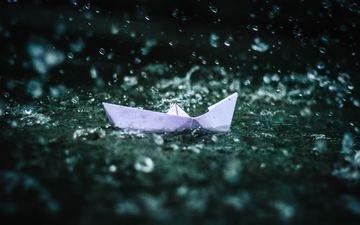 water, drops, rain, origami, boat, paper boat