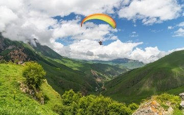 clouds, mountains, flight, sport, extreme, the dome, paragliding, paraglider