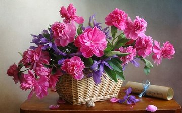 flowers, petals, bouquet, basket, still life, peonies