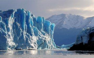 mountains, landscape, sea, iceberg, glacier, argentina, perito moreno