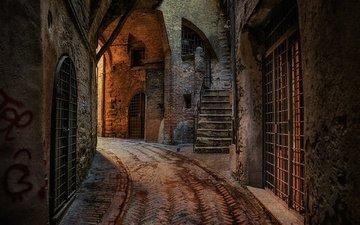 улочка, дома, италия, перуджа