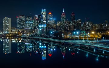 night, lights, water, river, reflection, skyscrapers, home, promenade, usa, philadelphia