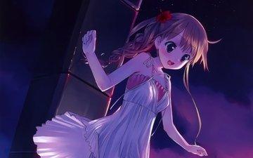 ноч, игривое настроение, аниме девочка, оригинальная