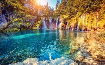 nature, forest, landscape, waterfalls, plitvice lakes, plitvice