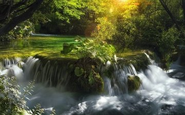 river, nature, forest, waterfall, croatia, cascade