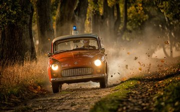 road, autumn, police, car, siren