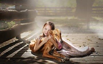 smile, dog, children, girl, child, friends, veranda, sunlight, dmitry usanin, dmitry yanin