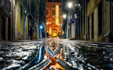 night, rain, portugal, tram, lisbon, vladimir vishnyakov