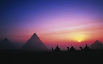 sunset, people, desert, egypt, caravan, camels, pyramid