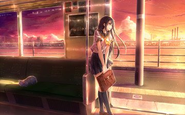 the sky, sea, cat, the city, anime, long hair, school uniform, student