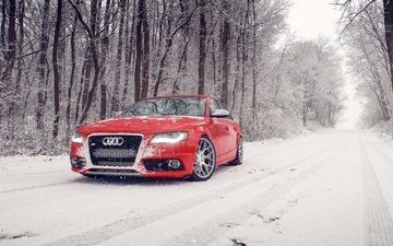 snow, winter, red, audi, s4