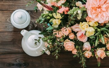 flowers, bouquet, vase, kettle