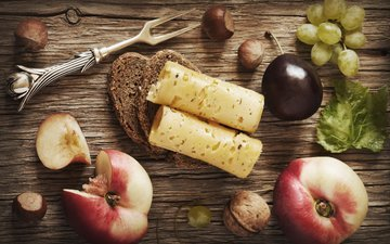 leaves, nuts, grapes, food, fruit, board, cheese, bread, berries, peaches, drain