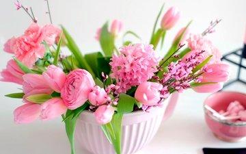 flowers, bouquet, tulips, pink, vase, peonies