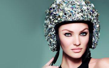 девушка, портрет, взгляд, шлем, модель, лицо, голубые глаза, кэндис свейнпол