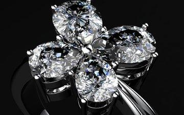 кольцо, черный фон, бриллианты, ювелирные изделия