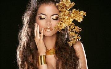 рука, стиль, девушка, браслет, макияж, прическа, золото, тени, ресницы, жест, маникюр