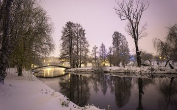 river, nature, winter, landscape, park, bridge