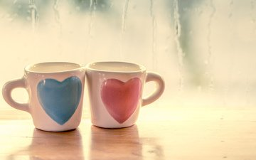 mugs, love, romance, heart, hearts
