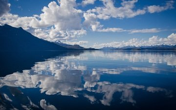 the sky, clouds, lake, mountains, reflection, horizon