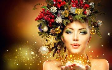 новый год, девушка, праздники, рождество, магия