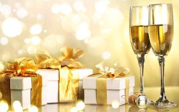 новый год, подарки, лента, праздник, рождество, шампанское, коробки, анна