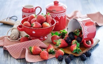 summer, strawberry, berries, dishes, strawberries, blackberry, crockery