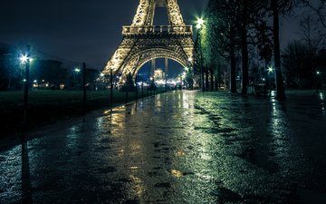 the evening, the city, paris, rain, france, alley, efilive tower