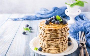 черника, завтрак, мед, блины