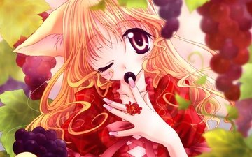 anime, fruit, japanese, fox, vine, girl, grape, bishojo