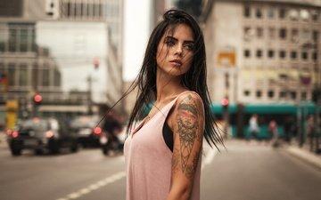 девушка, город, взгляд, модель, тату, волосы, лицо, мартин кюн, marlen valderrama alvarez