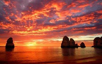 clouds, rocks, sunset, sea