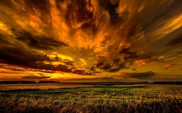 the sky, clouds, nature, sunset, field, horizon