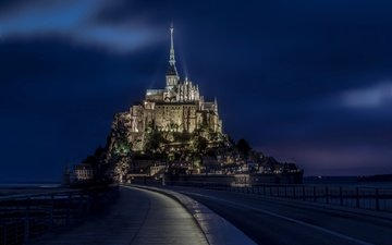 night, lights, castle, france, the monastery, normandy, mont-saint-michel, le mont saint-michel