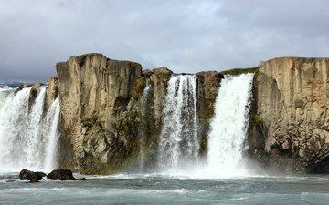 rocks, waterfall, iceland, sudur-tingeyjarsysla, goðafoss