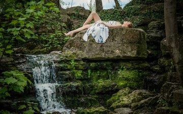 природа, камни, девушка, настроение, поза, водопад, модель, ele gance
