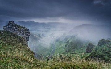 mountains, rocks, stones, fog, england, valley