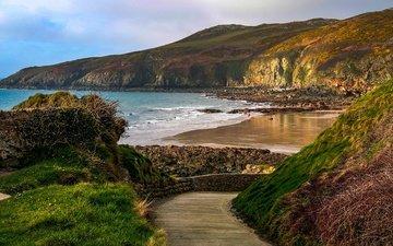 road, rocks, stones, sea, beach, uk, coast, wales