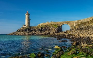 the sky, rocks, stones, sea, lighthouse, bridge, coast, france, arch, sunny, petit minou