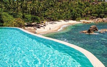 trees, water, the sun, stones, sea, sand, beach, palm trees, pool, island, thailand, tropics