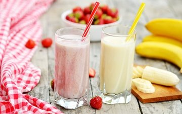 drink, fruit, strawberry, berries, cocktail, glasses, banana, delicious, milk