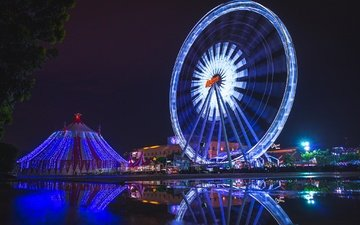 lights, the evening, ferris wheel, wheel, thailand, bangkok, amusement park, ekk zbeats, asiatique