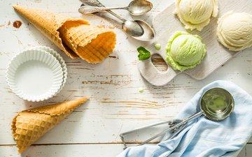 ice cream, horn, dessert, pistachios, vanilla