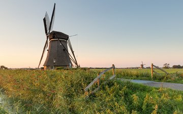 grass, river, landscape, channel, mill, holland, kinderdijk