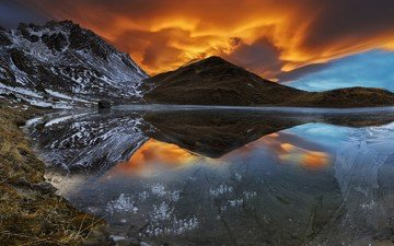 the sky, clouds, lake, mountains, snow, nature, sunset, reflection, landscape, france, alps