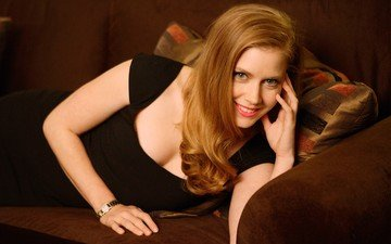 dress, smile, red, actress, red lipstick, amy adams